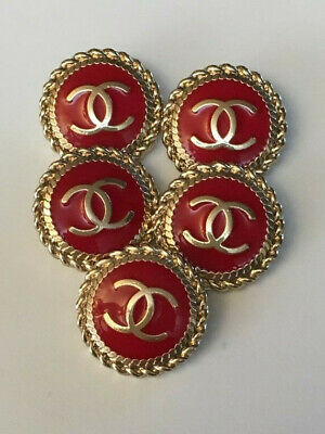 Chanel buttons in red set of 5, 22mm
