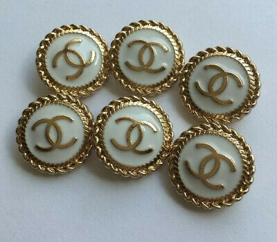 Set of 6 Chanel buttons in white and gold 20mm Lot
