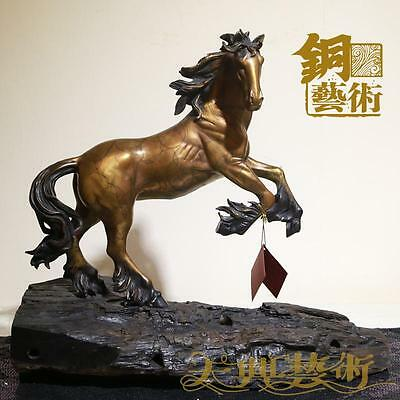 Art Deco Sculpture Horse Bronze Statue Figurine With Wooden Base