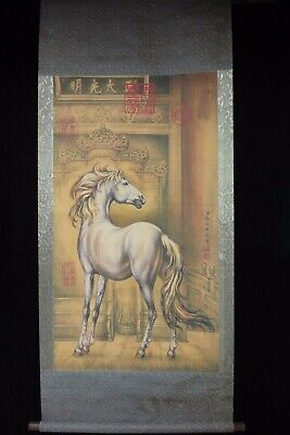 "Very Large Old Chinese Scroll Painting White Horse ""LangShiNing"" Marks"