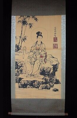 "Rare Large Old Chinese Scroll Hand Painting GuanYin Buddha ""DingYunPeng"" Marks"