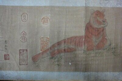 "Fine Long Rare Old Chinese Scroll Hand Painting Tiger & Turtle ""YiYuanJi"" Marks"