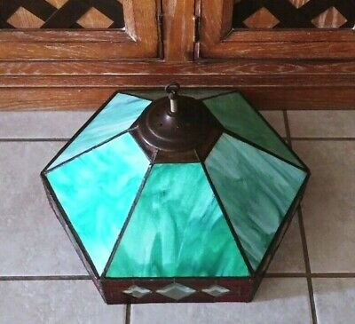 Vtg Lamp Shade Mission Art Deco Slag Stained Opalescent Hanging Glass Fixture