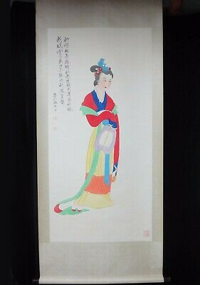 "Very Large Chinese Old Scroll Hand Painting ""GuanYin"" Buddha ""ZhangDaQian"" Marks"
