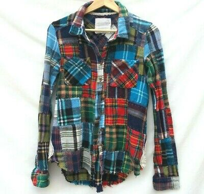 Free People We the Free lost in plaid patchwork boho flannel Womens XS