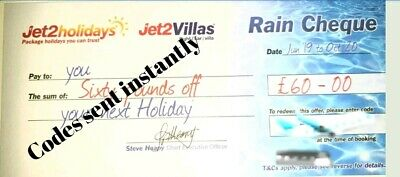 15 X Summer 2020 Jet2 Holidays £60 Rain Cheque voucher Exp Oct 2020