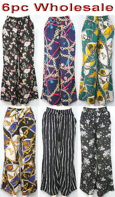 6pc Wholesale Women Cotton Harem Loose Pants BOHO Wide Leg Trouser Free Size Mix