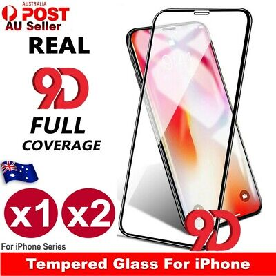 2x Full Coverage Tempered Glass 9D Screen Protector For Apple iPhone XS Max XR X