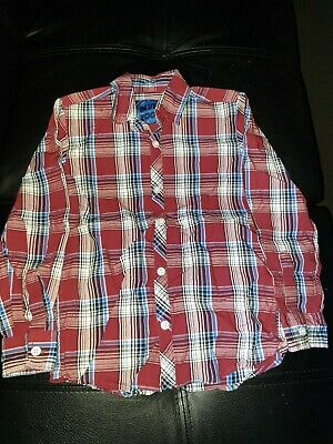 Blue Zoo Uk Uk Boys Size 8 Button Down Collared Shirt Burgundy Wine Blue White