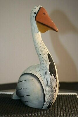 White Pelican Hand Carved Wood Tropical Sculpture Bird Decor