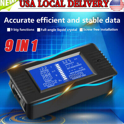 LCD Display DC Battery Monitor Meter 0-200V Voltmeter Ammeter for Cars RV Solar