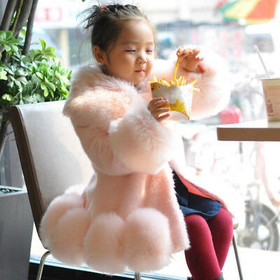 Kids Children Girls Winter Faux Fur Outwear Jacket Parka Trench Coat Tops Warm