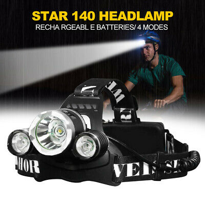 Weisshorn LED Headlamp Head Torch Light Flashlight Rechargeable XML T6 4 Modes