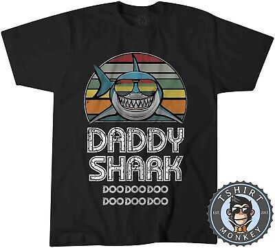 Vintage Effect Daddy Shark Doo Doo Doo Baby Tshirt T Shirt Mens Kids 0283