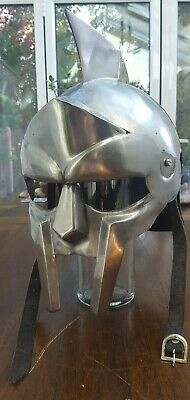 ** Used Gladiator Helmet Medieval Roman Greek Spartan Armor Maximus Re-Enactment