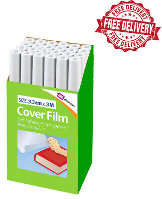 Self Adhesive Book Cover Film 33cmx3m High Quality Clear Plastic Sticky Back