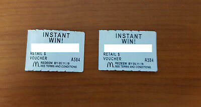 McDonald's Monopoly 2019 - 2 instant win tokens - Not used
