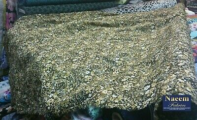 """New*poly viscose green&white/yellow  colored floral print embroidery fabric 58""""w"""