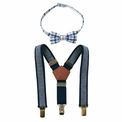 Mud Pie Boy Chambray Bow Tie and Suspender Set (One Size Up to 5T) NEW