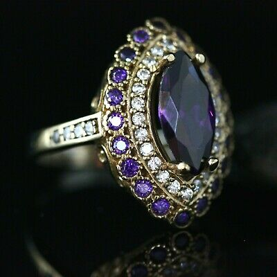 925 Sterling Silver Handmade Authentic Turkish Amethyst Ladies Ring Size 7-12