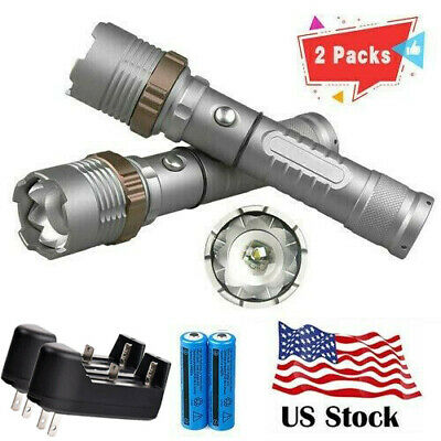2PC Rechargeable 200000LM Camping Flashlight T6 LED Tactical Torch+Batt+Char USA