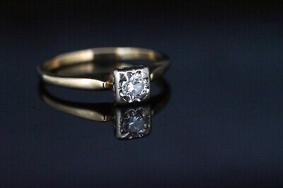 Vintage Estate 14k Yellow Gold Round Diamond Solitaire Engagement Bridal Ring