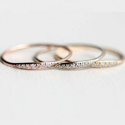 1x Women Exquisite Small Round Rhinestone Filled Tiny Baguette Diamond Ring Size