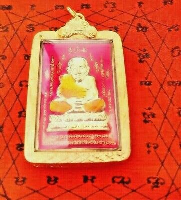 THai Amulet Phra LP Thuad WAT Changhai enamel gold micron case pendant wealthy