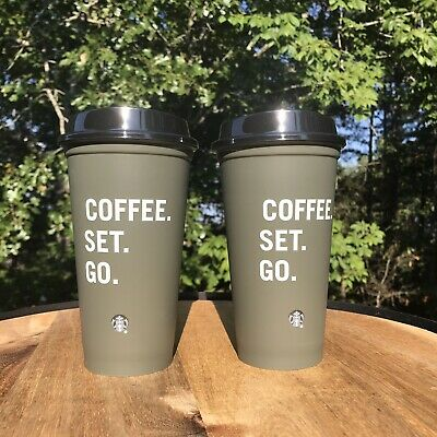 Starbucks Reusable Hot Cup Coffee Set Go Gray w/ Black Lid Fall 2019 Set of 2