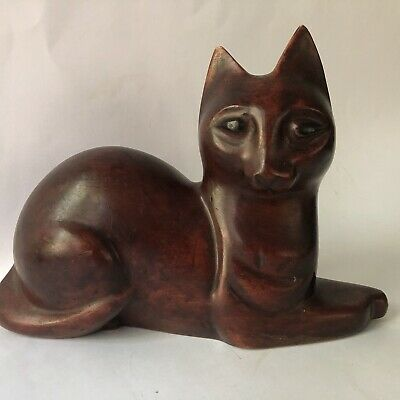 Vintage Carved Wood Cat Wooden Mid Century Modern Statue Door Stop Book End