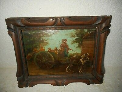 Very old oil painting,{ Dogs pulling a cart with bottles of milk, +- 1860 }.