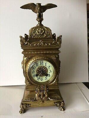 Antique French Late 19th Century Renaissance Revival Brass Mantel Clock Working