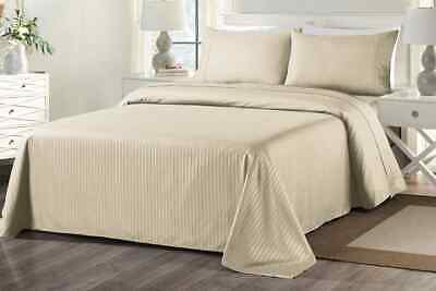 Royal Comfort 1000TC Blended Bamboo Bed Sheet Set with Stripes (King, Sand)