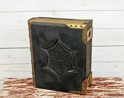 Antique Victorian Leather Brass Bound National Family Bible inc Colour Illustrat