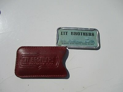 Vintage LIT BROS in Philadelphia Metal Charge Card with case