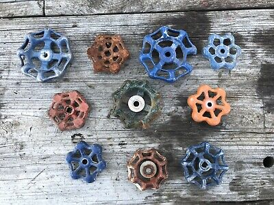 Lot of 10 Water Valve Handles Vintage Industrial Machine Age Steampunk Art used