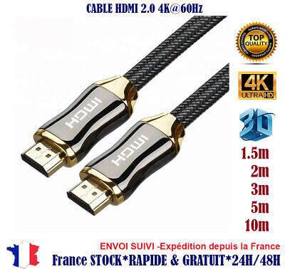 1x 2x 3m Cable hdmi 2.0 4K 60Hz Full ultra HD 3D HDTV HDR 18GB 1,5 2 3 5 10 m