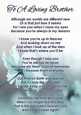 A Loving Brother Memorial Funeral Graveside Poem Card & Free Ground Stake F340