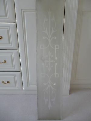 Vintage etched glass panel 95 x 21cms