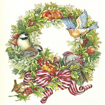 4 Lunch Paper Napkins for Decoupage Party Table Craft Vintage Xmas Birds Wreath