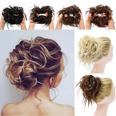 Large Thick Messy Bun Hair Piece Scrunchie Extension Brideupdo Highlight UKSELL