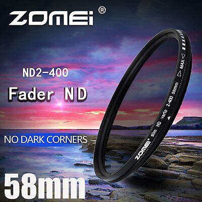 ZOMEI 58mm Neutral Density Fader Adjustable Variable ND Filter ND2,ND4,ND GV
