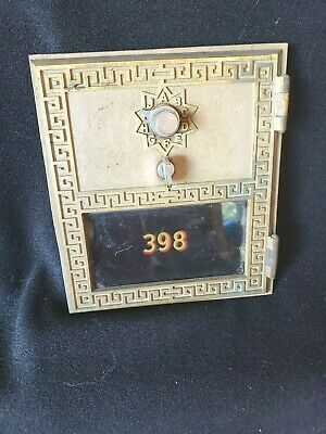 Vintage US Post Office Mail Box Brass Combination Door and frame