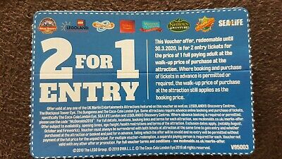 3 vouchers of 2 For 1 Entry At UK Merlin attractions