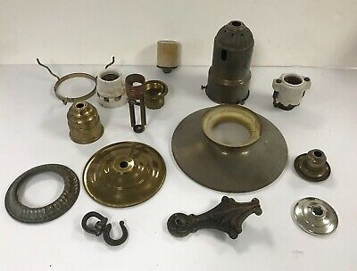 Antique assorted lot of authentic 1940s ceiling light fxture lamp parts