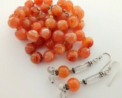 Vintage Hand Knotted Orange Agate Carnelian? Bead Necklace and Silver Earrings