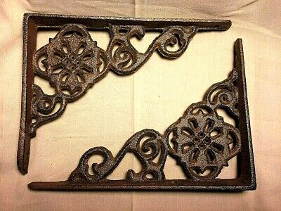 SET of 2 ANTIQUE BRONZE VICTORIAN FLORAL STYLE cast iron brace bracket corbel 6""