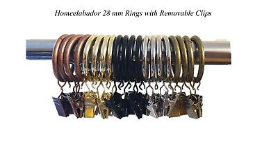 28mm Metal Curtain Rings with Removable Pinch Alligator Clips Multiple Pack Size