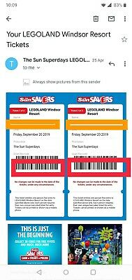 FRIDAY 20th SEPTEMBER 4 X LEGOLAND Tickets by email