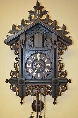 ANTIQUE GERMAN BLACK FOREST G.H.S TRUMPETER CUCKOO CLOCK  late 1800's RARE!!